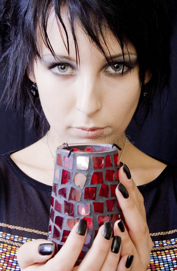kobieta goth świece. obrazy royalty free