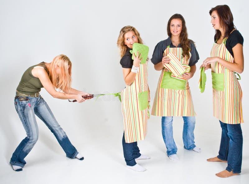 kobieta gotuje fartuchów 4 obraz royalty free