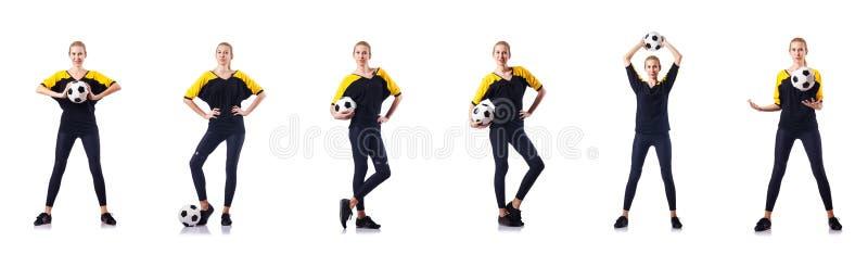 Kobieta gracz futbolu na bielu obrazy stock