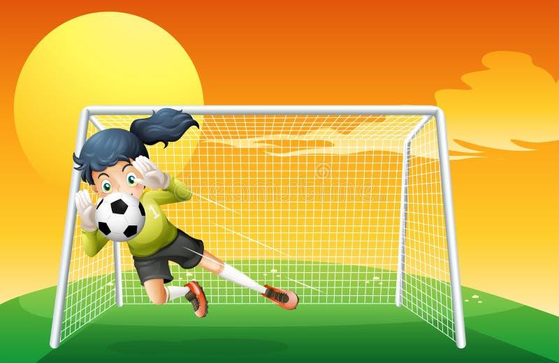 Kobieta gracz piłki nożnej łapie piłkę ilustracji