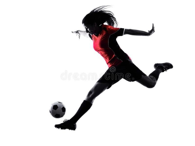 Kobieta gracza piłki nożnej odosobniona sylwetka zdjęcie royalty free