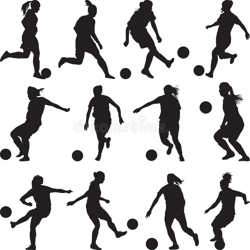 Kobieta gracza piłki nożnej sylwetka obrazy stock