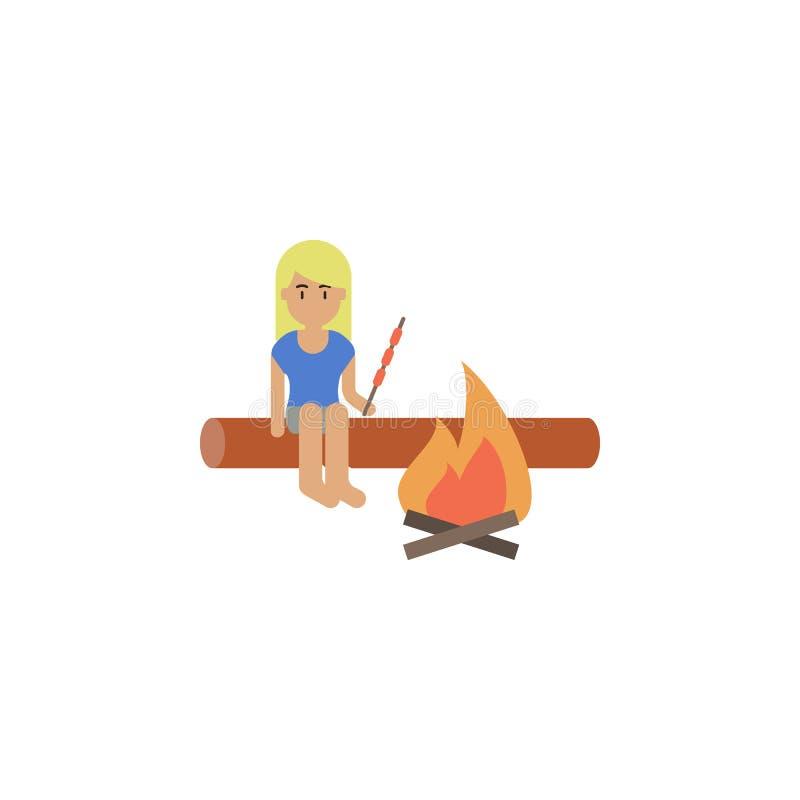 Kobieta, grill, pożarnicza kreskówki ikona Element kolor podróży ikona Premii ilości graficznego projekta ikona podpisz symboli ilustracji