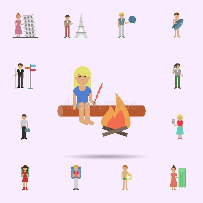Kobieta, grill, po?arnicza kresk?wki ikona Og?lnoludzki ustawiaj?cy podr?? dla strona internetowa projekta i rozwoju, app rozw?j ilustracji