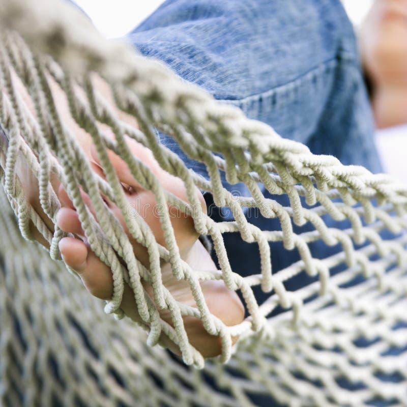 kobieta hamaka stopy obraz stock