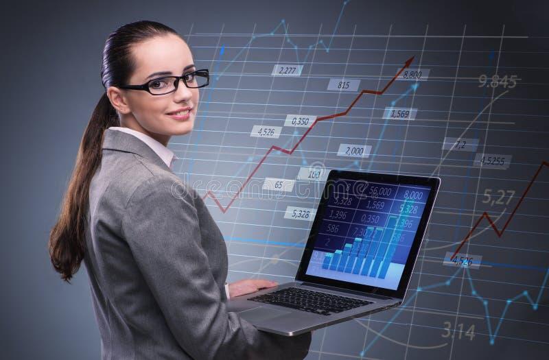 Kobieta handlowiec pracuje na laptopie w akcyjnego handlu pojęciu obrazy stock