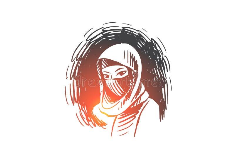 Kobieta, hijab, islam, arab, piękny pojęcie Ręka rysujący odosobniony wektor ilustracja wektor