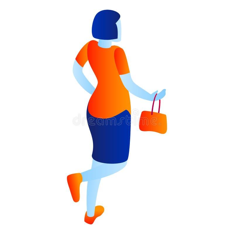 Kobieta iść robić zakupy ikonę, isometric styl ilustracja wektor