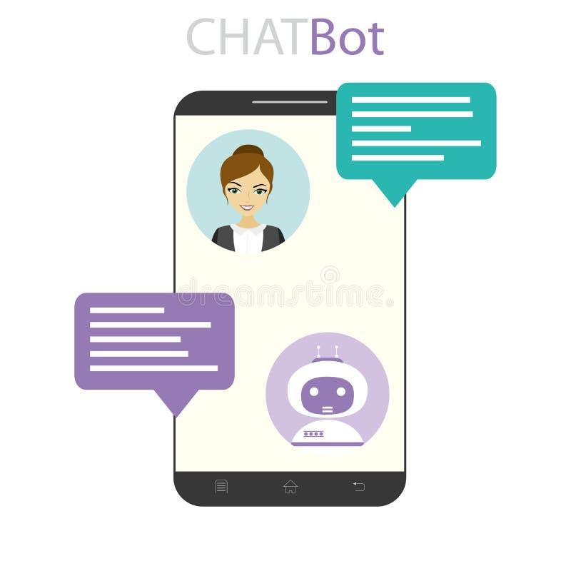 Kobieta i chatbot na telefonu komórkowego ekranie ilustracji