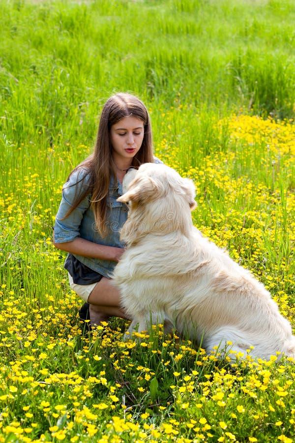 Kobieta i jej golden retriever w polu żółci kwiaty zdjęcia royalty free
