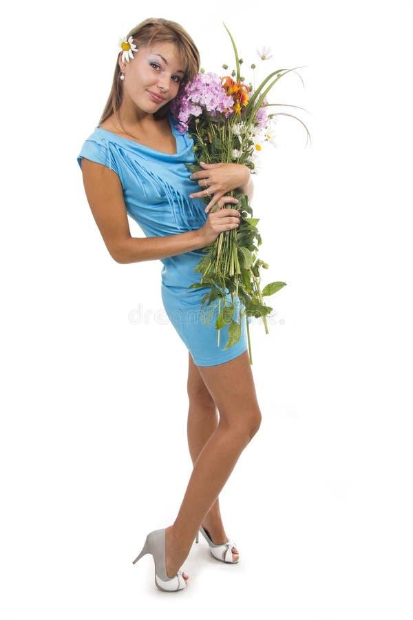 Kobieta i kwiaty obraz royalty free