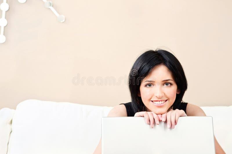 Kobieta i laptop fotografia royalty free