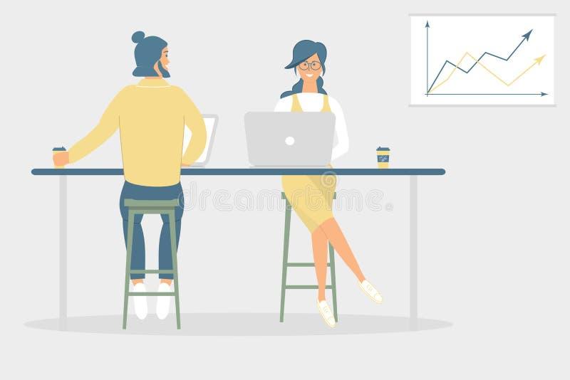 Kobieta i mężczyzn przyjaciele siedzi przy biurkiem w nowożytnym biurze koledzy lub, pracujący przy notatnikiem i pastylką, kawę, royalty ilustracja