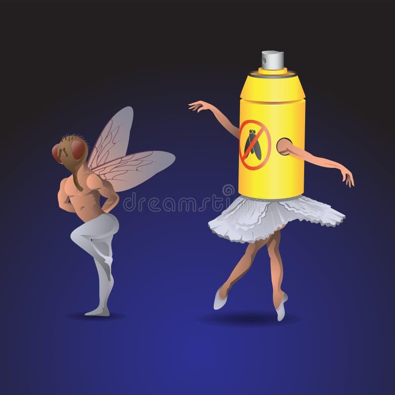 Kobieta i mężczyzna tańczą balet w kostiumach much i spray na odizolowanym tle Obraz wektorowy ilustracja wektor