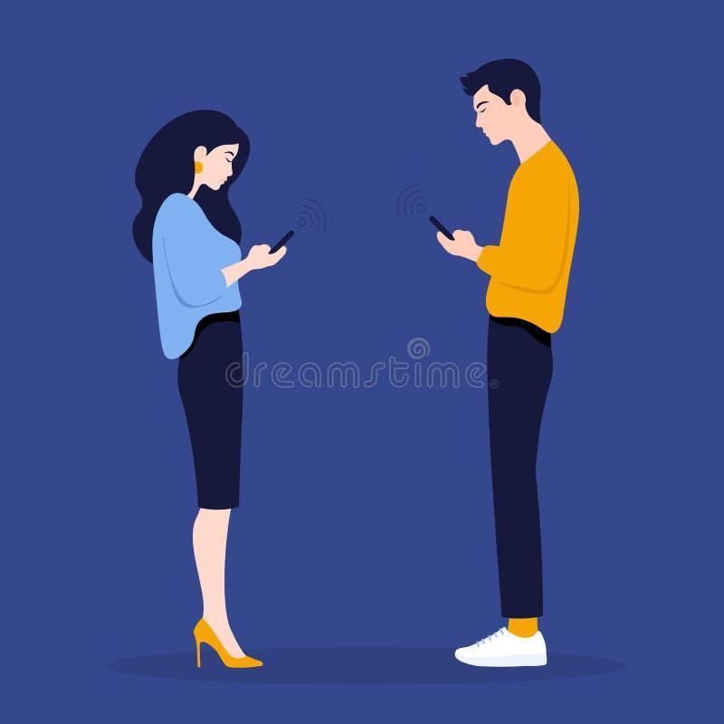 Kobieta i mężczyzna w profilu i spojrzeniu w ich telefonach Komunikacja również zwrócić corel ilustracji wektora zdjęcie stock