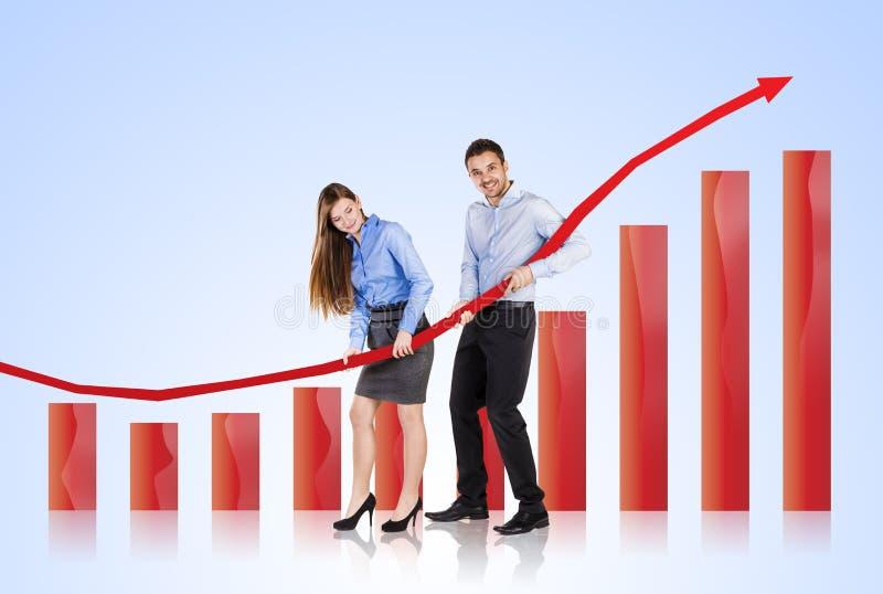 Kobieta i mężczyzna z statystyki krzywą obraz royalty free