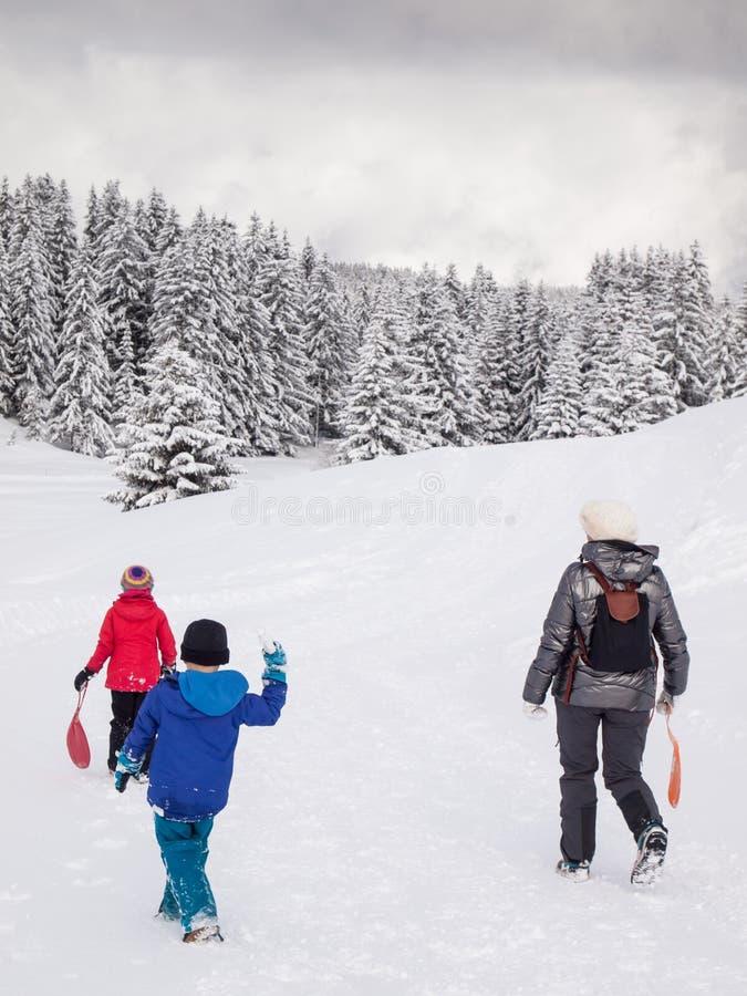 Kobieta i mali dzieci chodzi w śniegu fotografia stock