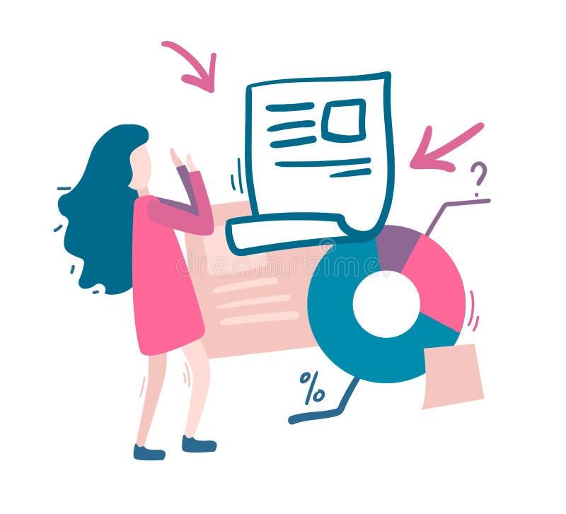 Kobieta i mnóstwo informacja, grafika Przeciążenie informacja c royalty ilustracja