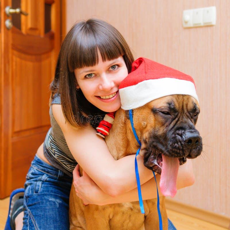 Kobieta i pies obraz stock