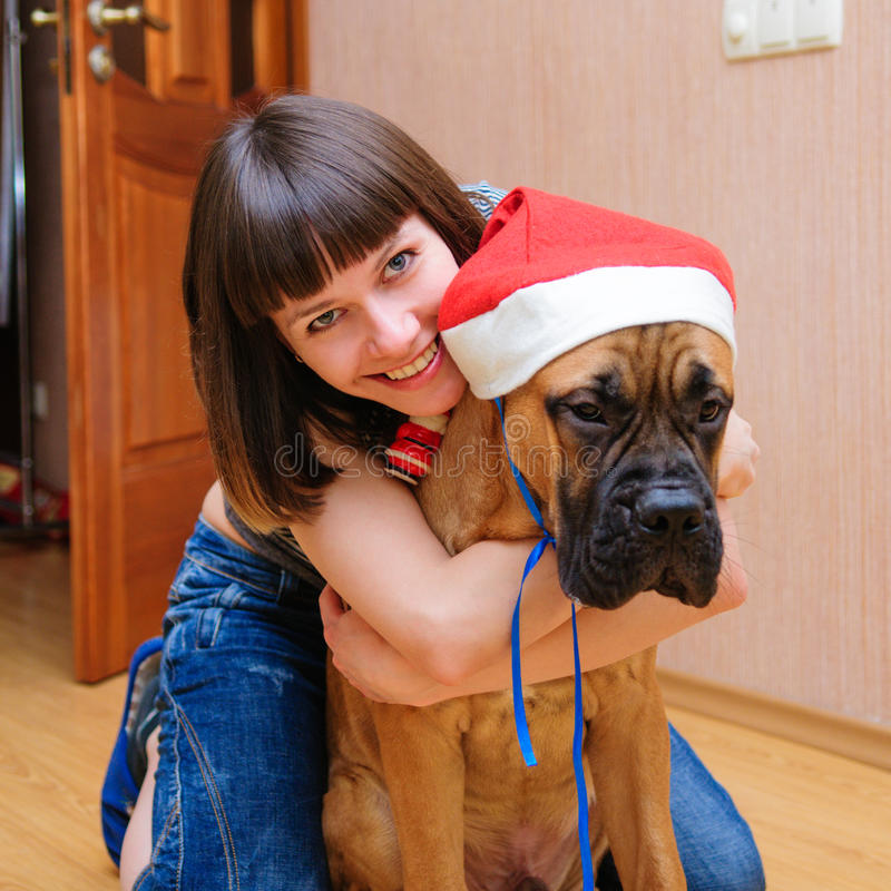 Kobieta i pies obraz royalty free
