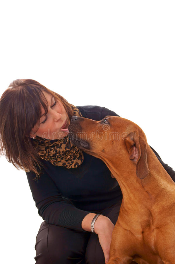 Download Kobieta i pies zdjęcie stock. Obraz złożonej z traken - 28970046