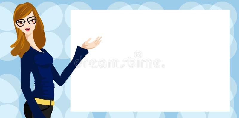 Kobieta i sztandar ilustracji