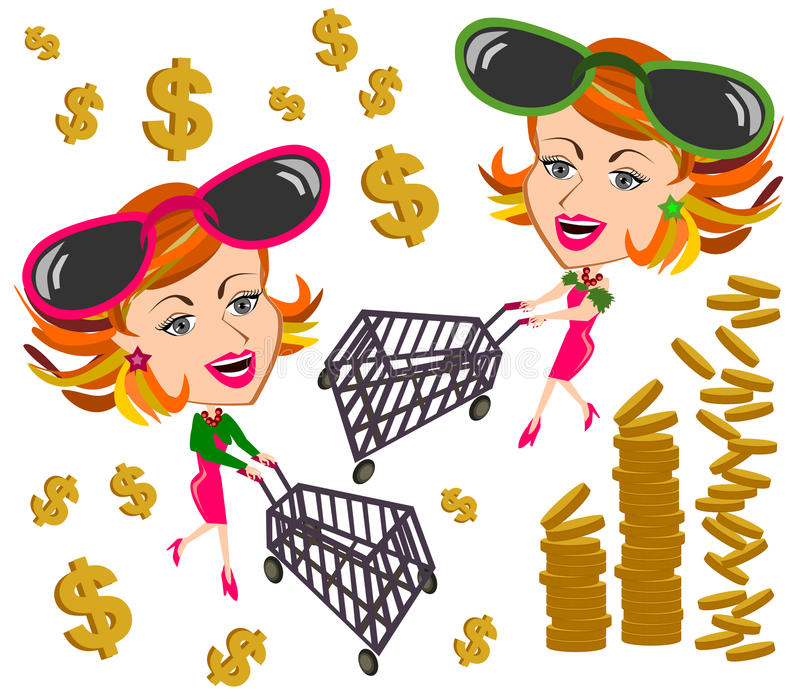 Kobieta i wózek na zakupy ilustracji