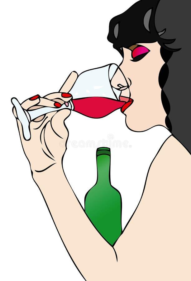Kobieta I Wino ilustracji