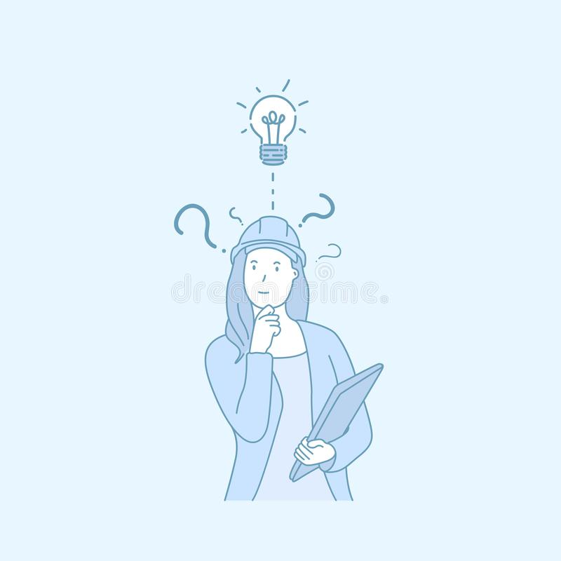 Kobieta inżynier dobra ręka rysującego pomysłu stylowego wektor ilustracja wektor