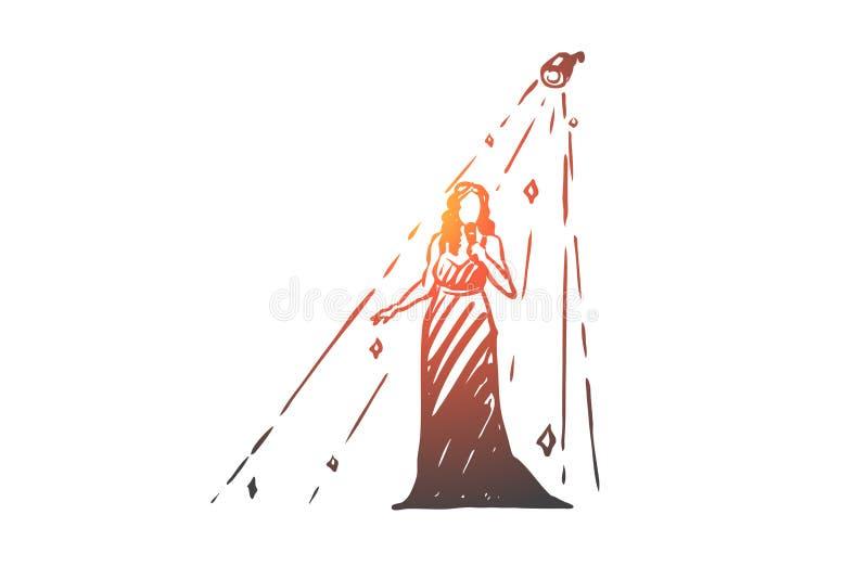 Kobieta, jazz, piosenkarz, występu pojęcie Ręka rysujący odosobniony wektor ilustracja wektor
