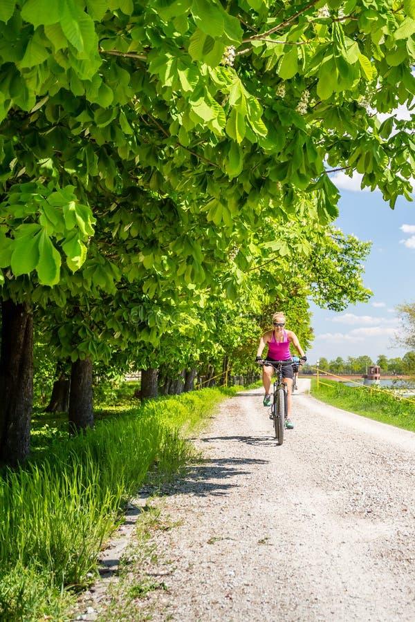 Kobieta jeździć na rowerze rower górskiego w miasto parku, letni dzień obraz royalty free