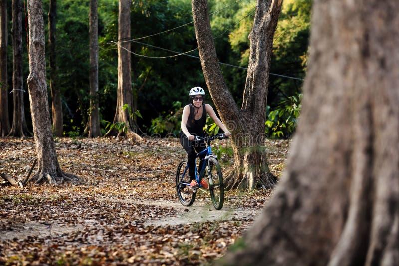 Kobieta jeździć na rowerze w parku zdjęcie stock