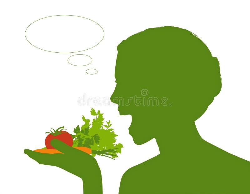 Kobieta je zdrowego jedzenie royalty ilustracja