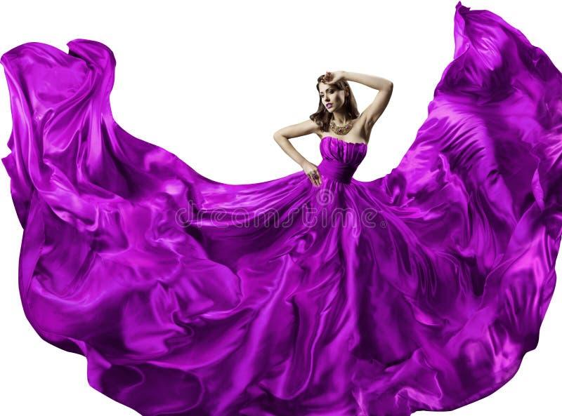 Kobieta jedwabiu suknia, piękno mody portret, Długa Trzepotliwa toga zdjęcia royalty free
