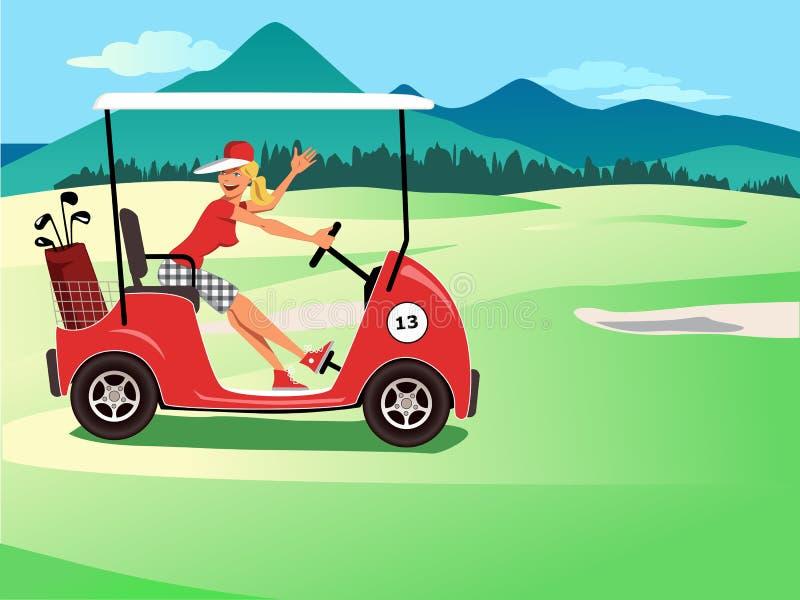 Kobieta jedzie golfową furę ilustracja wektor
