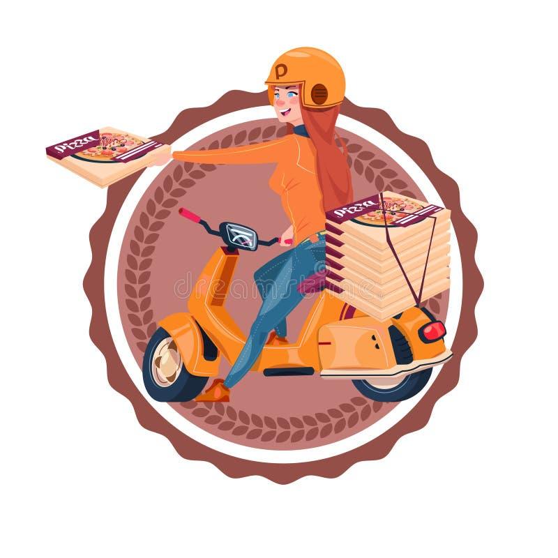 Kobieta Jedzie Retro Restauracyjna Karmowa Doręczeniowa ikona Odizolowywającego hulajnoga szablonu loga Dostarcza pizzę ilustracja wektor
