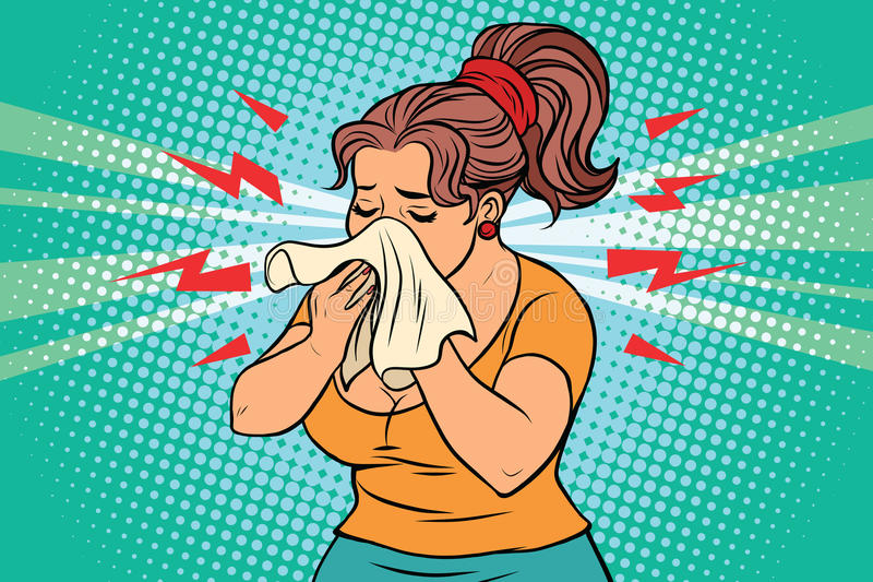Kobieta jest chorobą, cieknącym nosem i chusteczką, royalty ilustracja