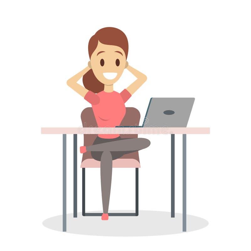 Kobieta jest relaksująca na krześle ilustracji