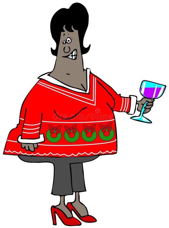 Kobieta jest ubranym brzydkiego Bożenarodzeniowego pulower ilustracji