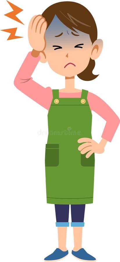 Kobieta jest ubranym fartucha cierpienie od migreny ilustracja wektor