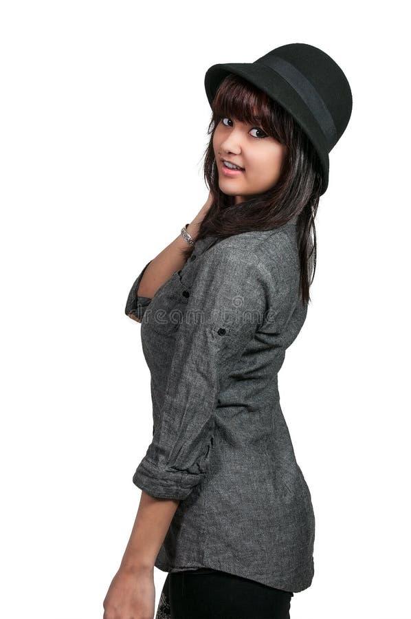 Kobieta Jest ubranym kapelusz fotografia royalty free