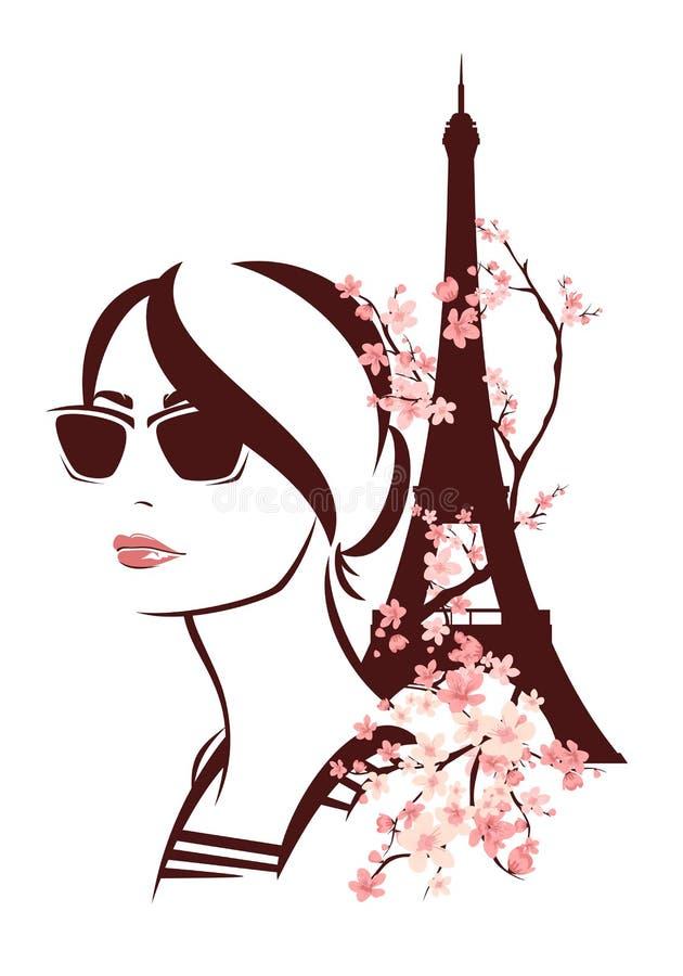 Kobieta jest ubranym okulary przeciwsłonecznych wśród kwiatów i wieży eifla - wiosna royalty ilustracja