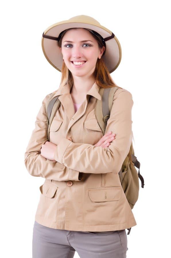 Kobieta jest ubranym safari kapelusz na bielu zdjęcia royalty free