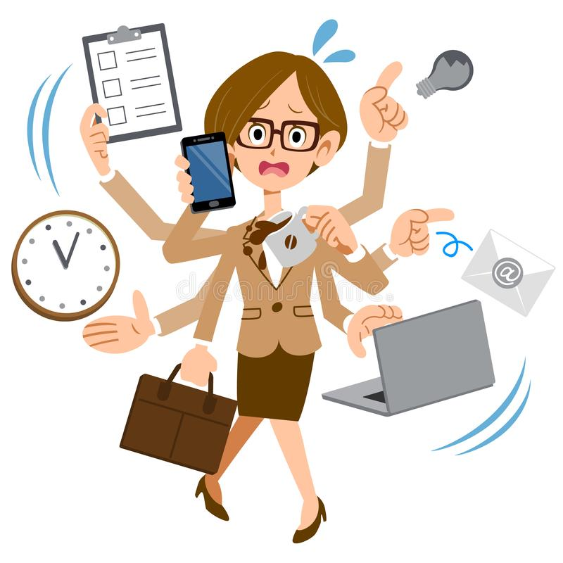 Kobieta jest ubranym szkła działanie przy firmą która jest zbyt ruchliwie ilustracji