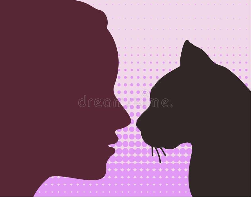 kobieta kot royalty ilustracja