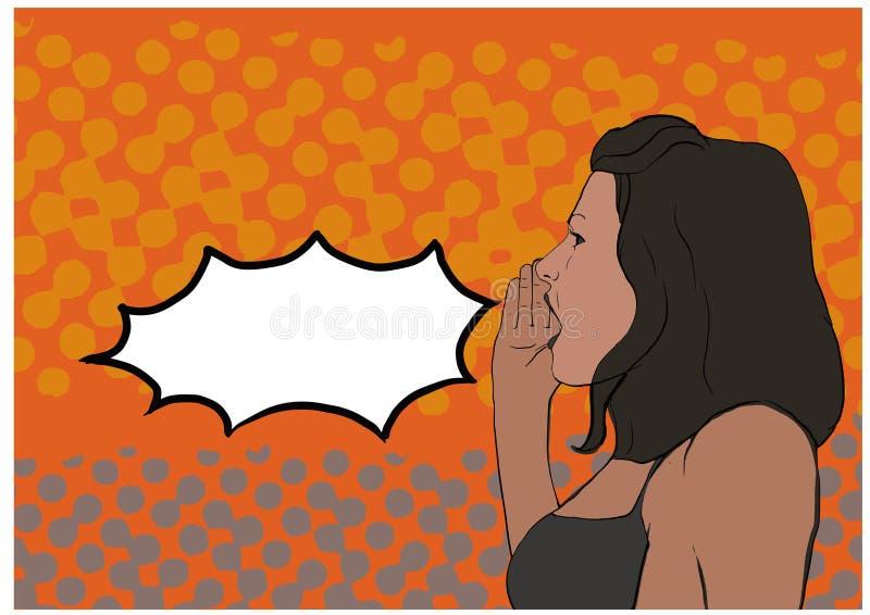Kobieta krzycząca dłonią do ust retro realistyczne wyizolowane naklejki wektorowe humor komiks ilustracji