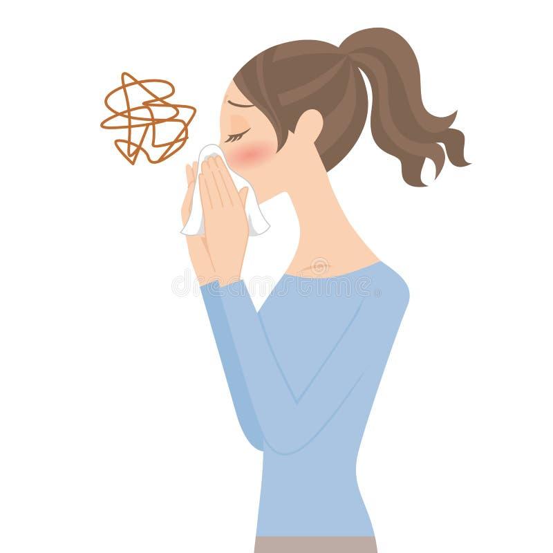 Kobieta która dmucha jej nos ilustracja wektor