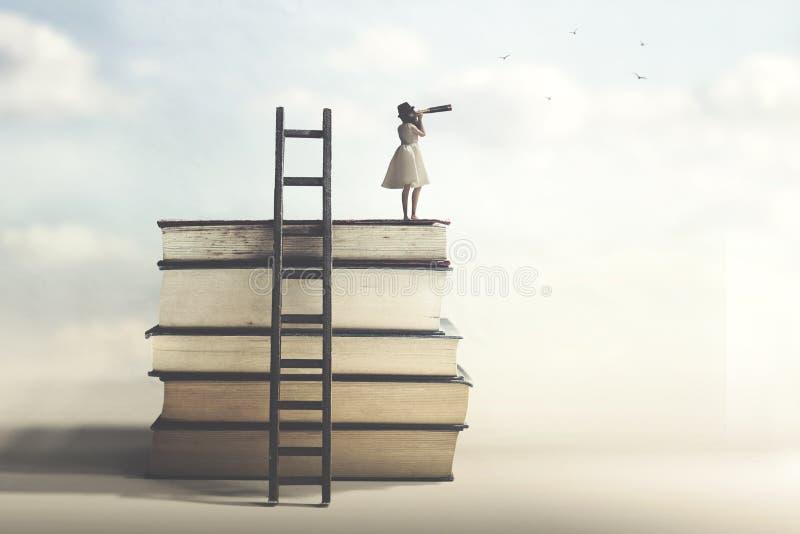 Kobieta która dokonywał sukces patrzeje w kierunku przyszłości zdjęcie stock