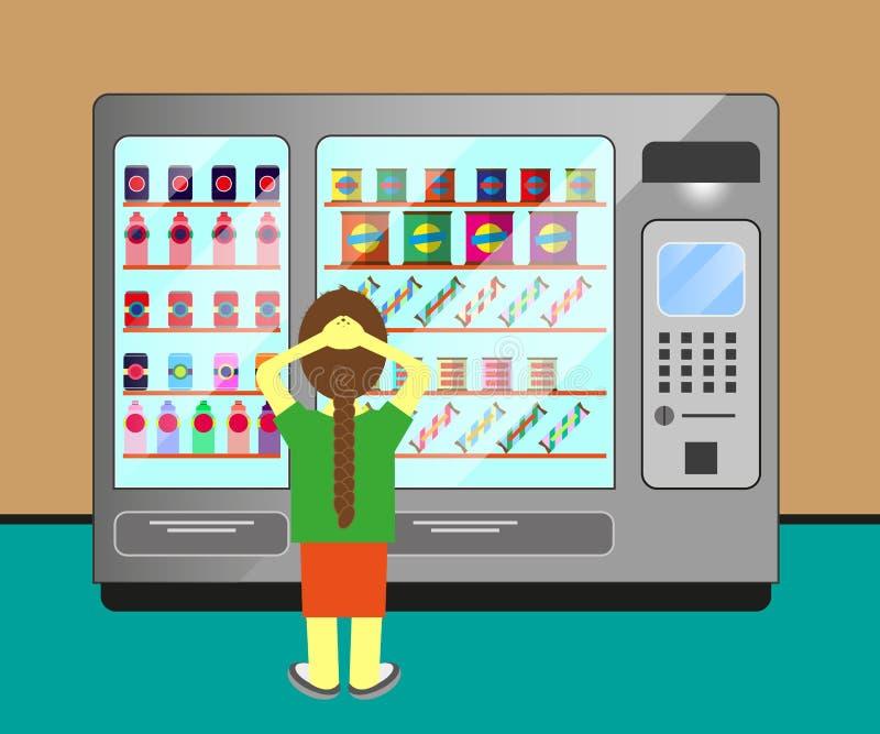 Kobieta która wybiera w maszynie napój i jedzenie ilustracja wektor