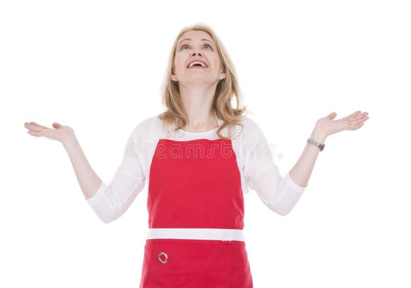 Kobieta kucharz w fartuchu fotografia royalty free